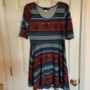 Francesca's Collection Red/Blue Knitted Dress Sz L